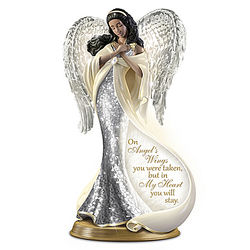 On Angel's Wings Porcelain Illuminated Mosaic Angel Sculpture