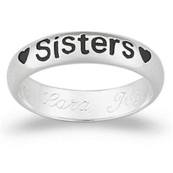 "Sterling Silver ""Sisters"" Engraved Message Ring"
