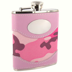 Personalized 6 Ounce Pink Camouflage Engraved Flask