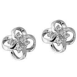 14kt White Gold Flower Shape Diamond Earrings