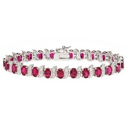 Created Ruby and Diamond Sterling Silver Bracelet