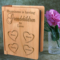 Personalized Happiness Is You Wooden Photo Album