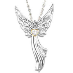 Guardian Angel of Love Swarovski Crystal Pendant Necklace