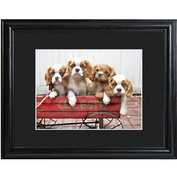 Personalized Wagon of Puppies Framed Print