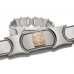Men's Gold and Stainless Steel US Army Bracelet