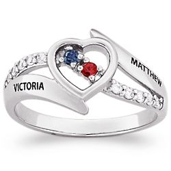Sterling Silver Couple's Heart Birthstone and Name Ring