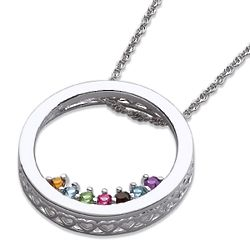 Sterling Silver Birthstone Circle Slider Pendant