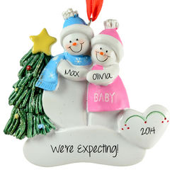 Pregnant Snow Couple Ornament