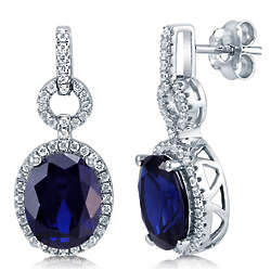 Sapphire Cubic Zirconia Sterling Silver Halo Dangle Earrings