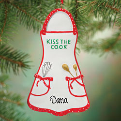 Personalized Kiss the Cook Apron Ornament