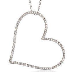 Diamond Open Heart Pendant Sterling Silver Necklace