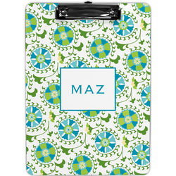 Suzani Teal Personalized Clipboard