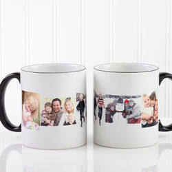 Five Photo Collage Personalized Black Handle Coffee Mug