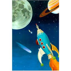 Retro Rocket Canvas Giclee Wall Art
