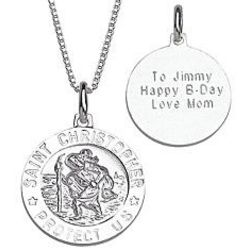 Personalized Sterling St.Christopher Engraved Medal Pendant