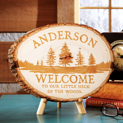 Personalized Pine Tree Wood Log Sign