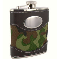 Personalized 6 Ounce Green Camouflage Engraved Flask