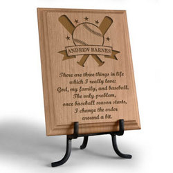 Personalized Baseball Star Wooden Plaque