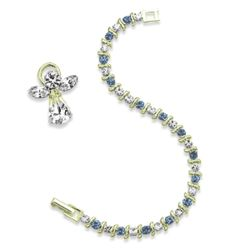 S-Curve Crystal March Birthstone Bracelet and Angel Pin