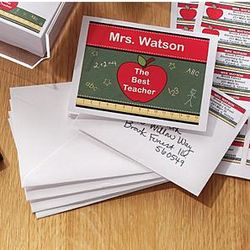 Personalized Apple Design Teacher Note Cards