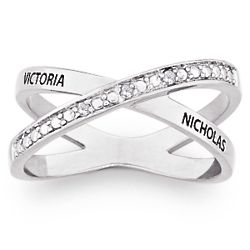 Sterling Silver Couple's Diamond Crossover Name Ring