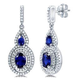 Sapphire Cubic Zircionia Sterling Silver Dangle Earrings