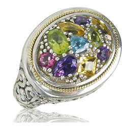 Balissima Multi Color Ring in 18k Yellow Gold & Sterling Silver