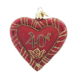 40th Anniversary Heart Christmas Ornament