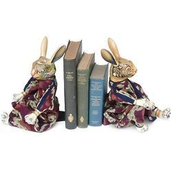 Hand Carved Rabbit Bookends