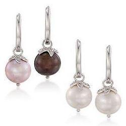 Sterling Silver Set of Multicolored Pearl Hoop Earrings