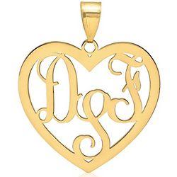 Monogram Script 14 Karat Gold Heart Pendant
