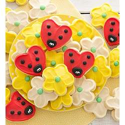 Buttercream Frosted Lady Bug and Flower Cookies