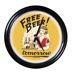Free Beer Tomorrow Round Clock