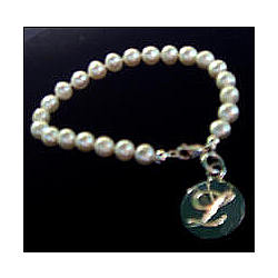 Fresh Water Pearl Bracelet with Sterling Silver Monogrammed Charm