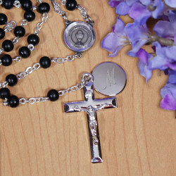 Personalized First Communion Black Pearl Rosary