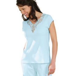 Blue Lovely Lace Cotton Pajamas