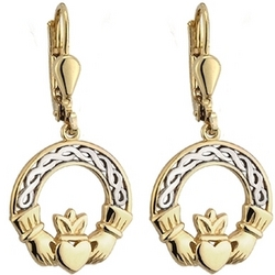 10K Two Tone Claddagh Drop Earrings