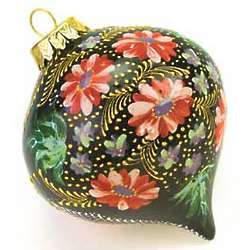 Hand-Painted Floral Ceramic Ornament