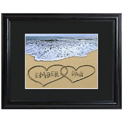 Personalized Two Hearts in the Sand Framed Print