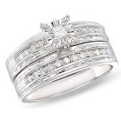 Diamond 14K White Gold Bridal Engagement Ring Set