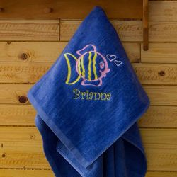 Kid's Personalized Blue Beach Towel