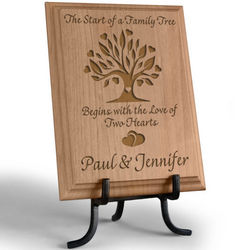 Two Hearts Family Tree Wooden Plaque