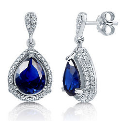 Pear Cut Sapphire Cubic Zirconia Halo Dangle Earrings