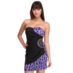 Purple Side Embelished Party Dress