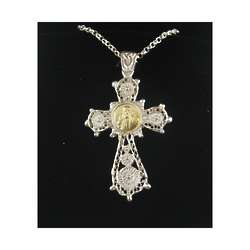 Filgree Cross Necklace with Padre Pio Medal