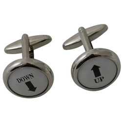 Rhodium Plated Up/Down Cufflinks