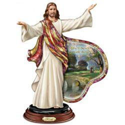 Thomas Kinkade and Louis Comfort Tiffany-Style Jesus Figurine