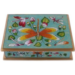 Dragonfly World in Turquoise Reverse Painted Glass Decorative Box