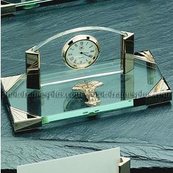 Glass Medical Desk Clock with Caduceus Emblem