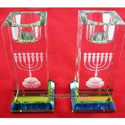 Shabbat Crystal Candlestick Holders with Menorah